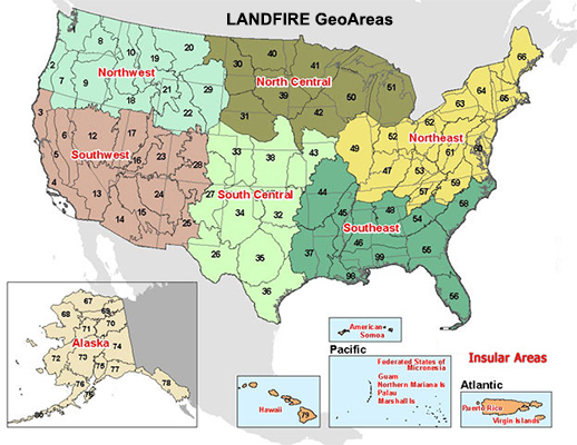 Map of LANDFIR GeoAreas
